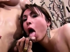 Bigtitted dark skin TS gets oil massage and cock in the ass