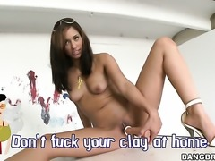 Brunette sexy Reena Sky with juicy butt getting satisfaction with guys cock...