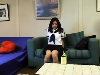 Azusa in uniform sucks hard penis