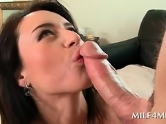 Busty mom sucks and deep throats huge cock