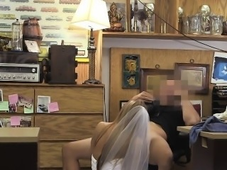 Blonde Dirtbag In Her Wedding Dress Face Fucked In office