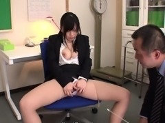 Busty teacher in the brake room toy fucks her wet pussy