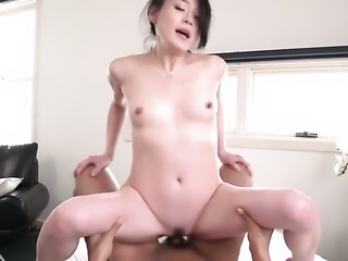 Small tits Asian is getting cumshot