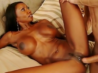 Brunette milf with a big ass is getting her pussy stretched by a white guy. The huge tits lady is seducing one of her sons friends in this hot video.