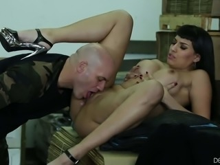 Raven haired sexy MILF Mercedes Carrera shows off her fake tits as she gets her pussy licked and her hot mouth fucked. This busty woman loves oral sex as well as Derrick Pierce