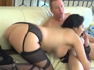 Raven haired sexy babe Missy Martinez in black stockings and gloves shows her perfect big melons while stroking dudes stiff cock with her gorgeous ass up. Great handjob!
