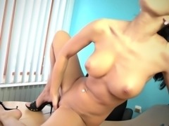 Naughty secretary Vanessa rubs one out at the office