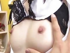 """Nao Kojima Japanese maid gets hard nipples"""