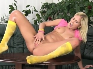 Lovely blonde Noleta loves to squirt so much