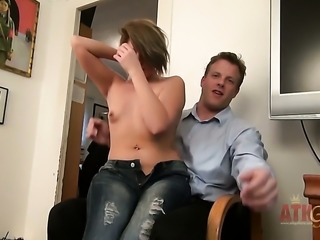 Blonde oriental Casey Stone with small breasts and bald muff is ready to spend hours sucking mans sausage non-stop