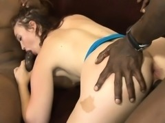Sexy redhead babe interracial gangbang action on the couch