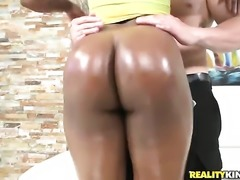 African with juicy booty and trimmed twat asks hot guy to insert his snake in...