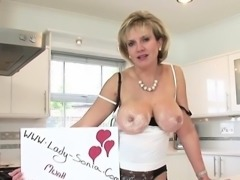 Unfaithful english milf lady sonia shows off her big balloon