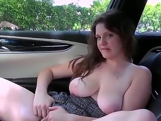 Alyssa Bradyn is a brunette that is naked in a car. She is taking her lunch break there and she is giving a blow job. Her perfect pussy is also getting attention.