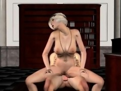 Classy 3D babe sucks and fucks the Godfather