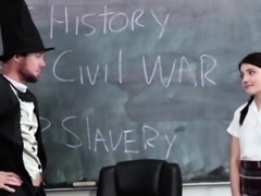 Tiny Brunette Fucks History Teacher