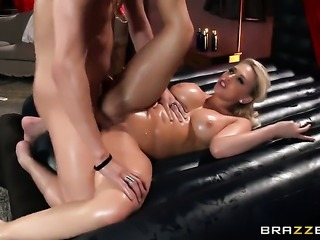 Kagney Linn Karter with big hooters gets her mouth destroyed by Xander Corvuss meat stick