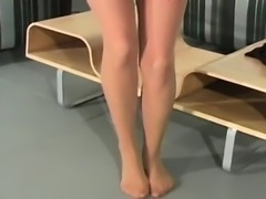 Frisky chick exposes ass upskirt and pink flaps