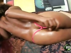 Brunette Rob with bubbly ass and bald bush fucks like a first rate hoe in...