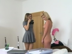 Slim babe with big fake tits has casting