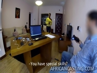 An African babe came to my office for job. Her perfect body and firm and tight boobs instantly made me horny, and I decided to fuck her at any cost. I promised her job and in the name of testing her skills, I fucked her and she co-operated me fully. Awesome fucking session with beautiful babe!!!