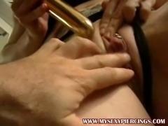 Huge pierced clit oiled up - My sexy piercings pierced model