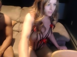 Beautiful blonde gets pounded hard by her black lover on th