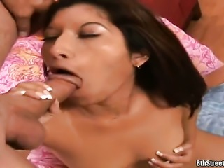Brunette sexy gets her bare hands attacked by guys stiff sausage