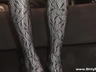 Skinny girl puts on her black lingerie and fucks a hard dick for money