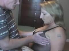 Amateur girl with old man