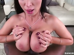 Brunette Nikki Benz with phat booty gets throat slammed by mans rock solid pole