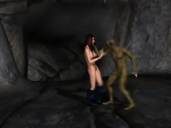 3D Redhead Schoolgirl Gets Fucked by a Goblin