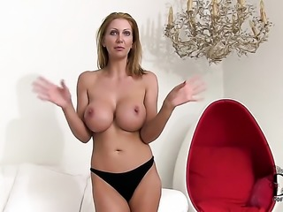 Mature Leigh Darby with juicy melons and hairless beaver masturbates with...