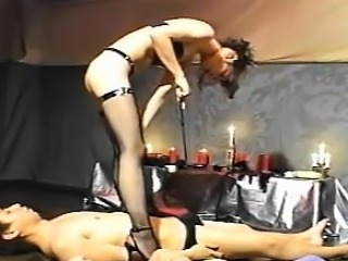 Mistress and 2 slaves play