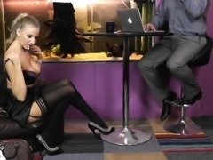 Lusty blonde sucks a hard prick and gets her tight pussy na