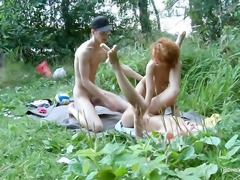 Blonde Hailey with small breasts and hairless twat wants him shove his...