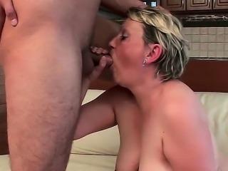 Heavy bitch bounces on dick