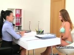 Big tits lesbians fucking on casting interview
