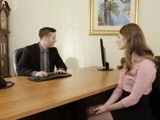 Redhead Alice March gives her boss a show and then fucks him silly