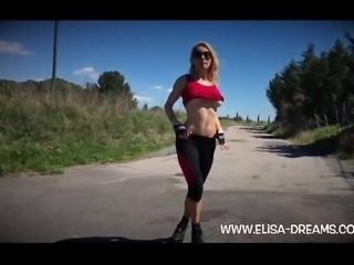 Flashing my body on the road after my workout