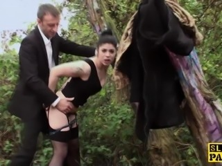 Outdoor facefucked submissive cumswallowing