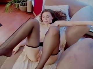 Black stockings covered by cum