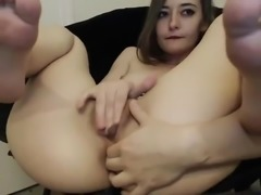 hot slut fingering her butthole while rubbing her clit