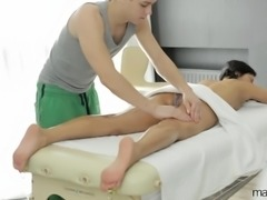 Sexy Asian gal gets a massage leading to some head and hot fucking