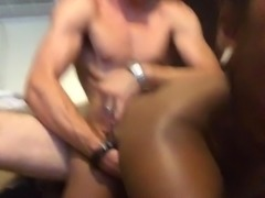 Ebony takes white cock