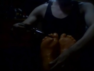 Tickling friends oily sexy feet with small toes