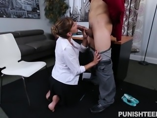 Dakota was busy doing her regular office work, when her angry boss called her in his office, because she did something wrong. She tried to calm the things down, by using her women powers and that's where the things got hot. She went on her knees and sucked the guy's big dick. Hot chick was punished hard!