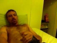 Guy masturbates huge cock