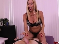 Sexy Alexis Fawx shows off her big round boobs and milks a cock in POV