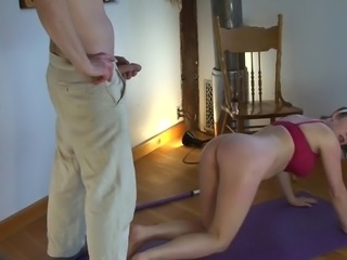 This insatiable tigress Erin Electra, with huge ass and big soft tits, only looks for the good chance to get a hard dick. Luckily for Erin, Matthias noticed her delicious curves while yoga lessons and instantly got horny. He licked her ass and puffy pussy from behind, then drilled her pink hole with great passion.